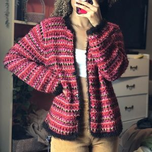 Knitted fuzzy cardigan